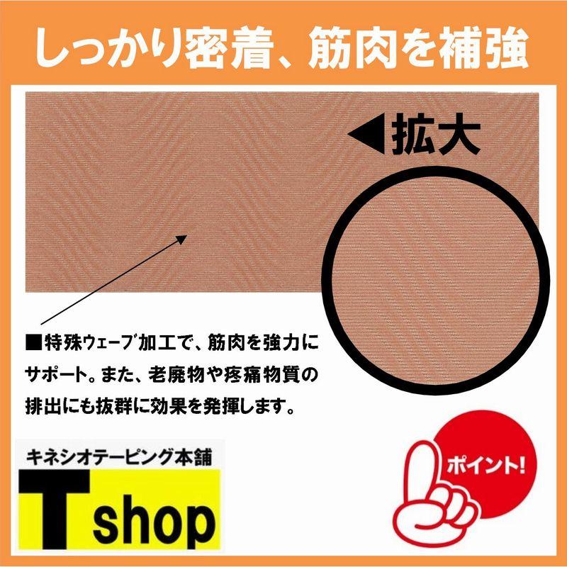 【定番】キネシオテープ 75�×5m ベージュ 伸縮性抜群 肌にやさしく剥がれにくい 各種団体の利用多数
