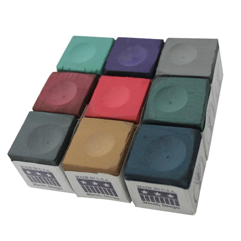 チョークアソートセット ビリヤードのカラフルで使いやすいチョーク 9個セットです!ビリヤード チョーク シルバーカップ