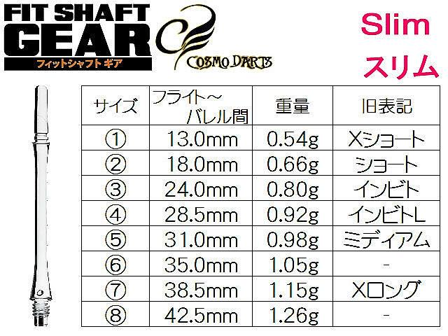 COSMO DARTS Fitシャフト GEAR Sロック/クリアオレンジ