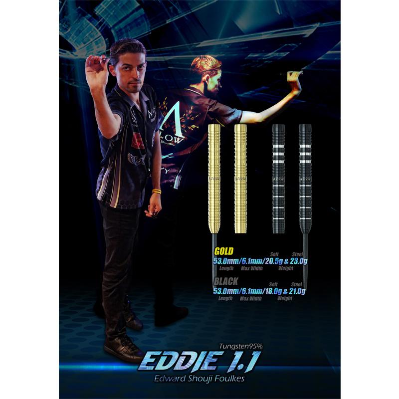 【予約商品 9月22日発売】 DYNASTY 【ダイナスティー】 エディー1.1 ゴールド エドワード・昌司・ファウルクス選手モデル (A-FLOW BLACK LINE EDDIE1.1 GOLD Tungsten95%)   ダーツ 2BAバレル 20.5g