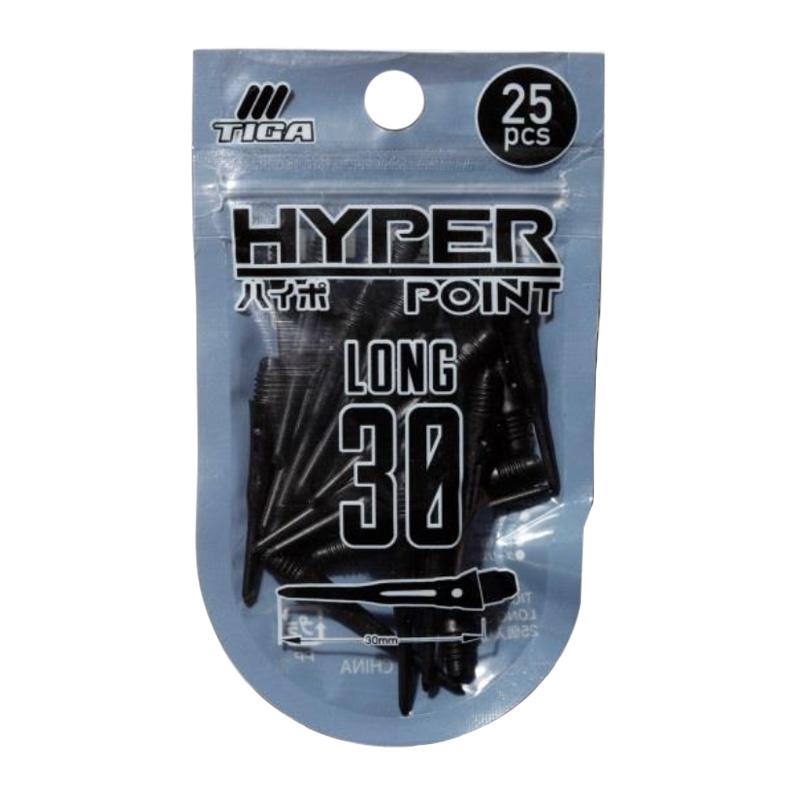 TIGA 【ティガ】 ハイパーポイント ブラック 30mm 25本入り (HYPER POINT DARTS TIP BLACK)