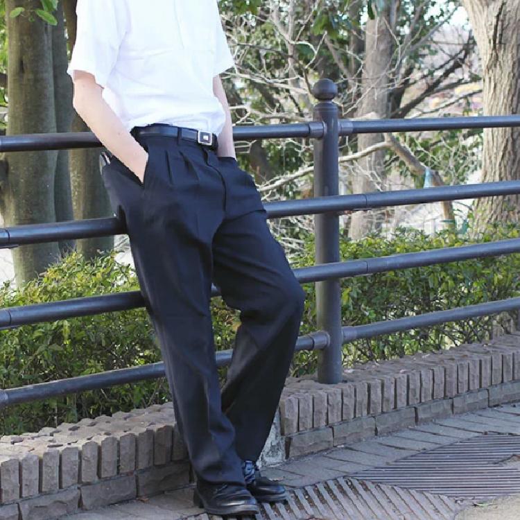 ■夏物 ビジネススラックス■●ツータック ネイビー●【メール便[×]非対応】(紳士 メンズ 仕事着 パンツ ズボン オフィス ポリエステル すそ上げ済み ウォッシャブル パイピングポケット コインポケット)