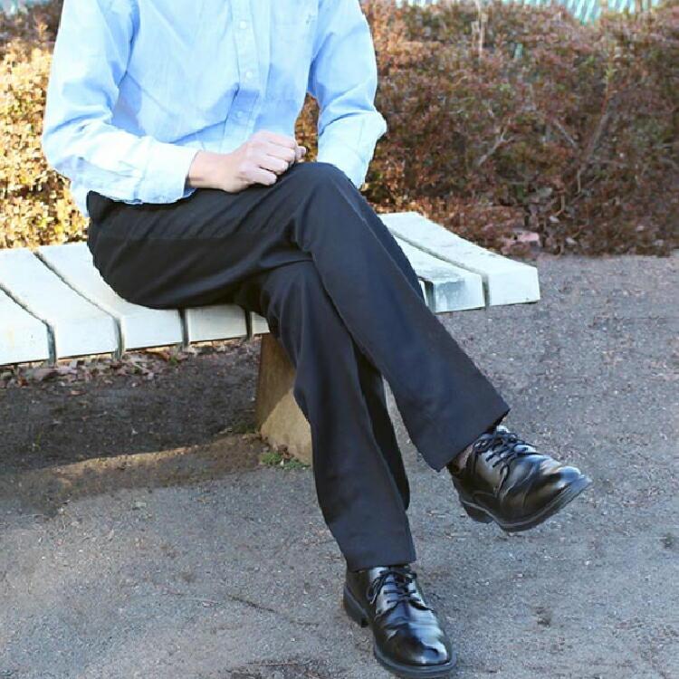 ■通年物 ビジネススラックス■●ツータック ブラック●【メール便[×]非対応】(紳士 メンズ 仕事着 パンツ ズボン オフィス ポリエステル すそ上げ済み ウォッシャブル パイピングポケット コインポケット)