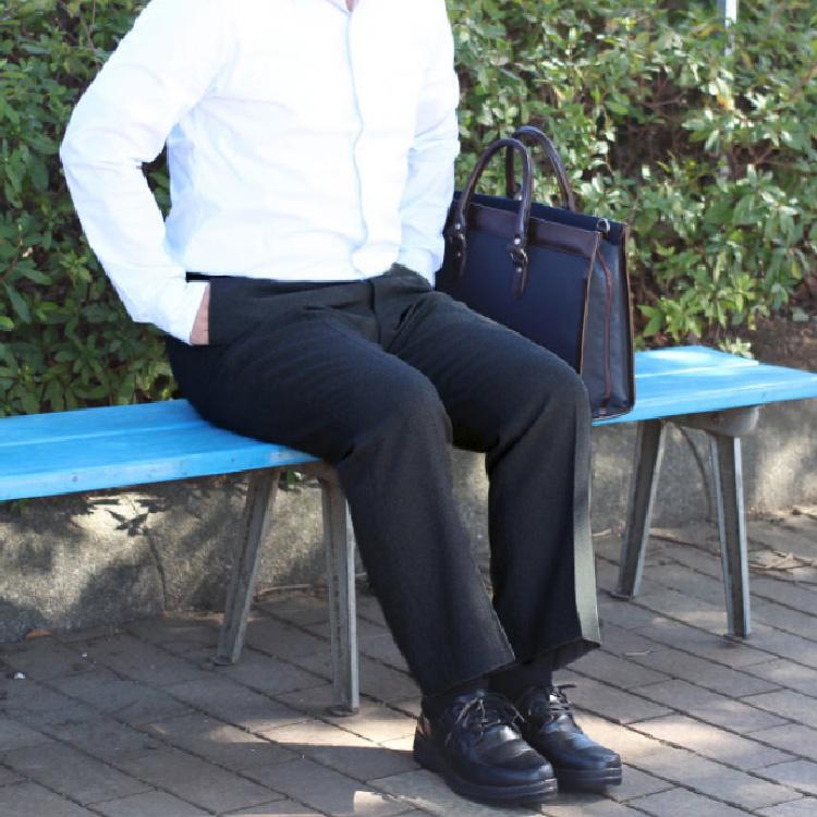 ■通年物 ビジネススラックス■●ノータック ブラック●【メール便[×]非対応】(紳士 メンズ 仕事着 パンツ ズボン オフィス ポリエステル すそ上げ済み ウォッシャブル パイピングポケット コインポケット)