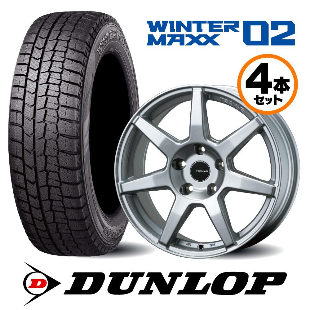 15インチ Bセット ダンロップ WinterMaxx02 207/208/C3/DS3用 スタッドレスタイヤ&TECMAGホイールセット
