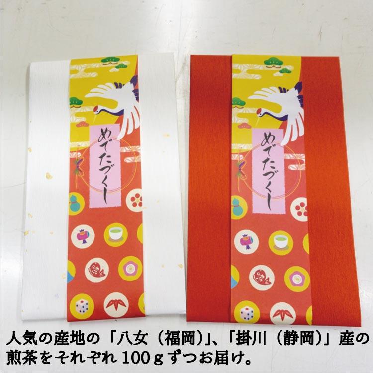 【メール便配送】【送料無料】紅白たと紙人気の茶産地の煎茶100g2袋セット。