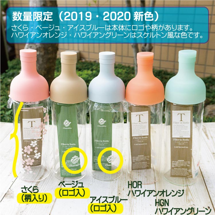ィルターインボトル 750mlと、ボトルカラーの水出し専用茶ギフト  ありがとう豆入【FIB-75】