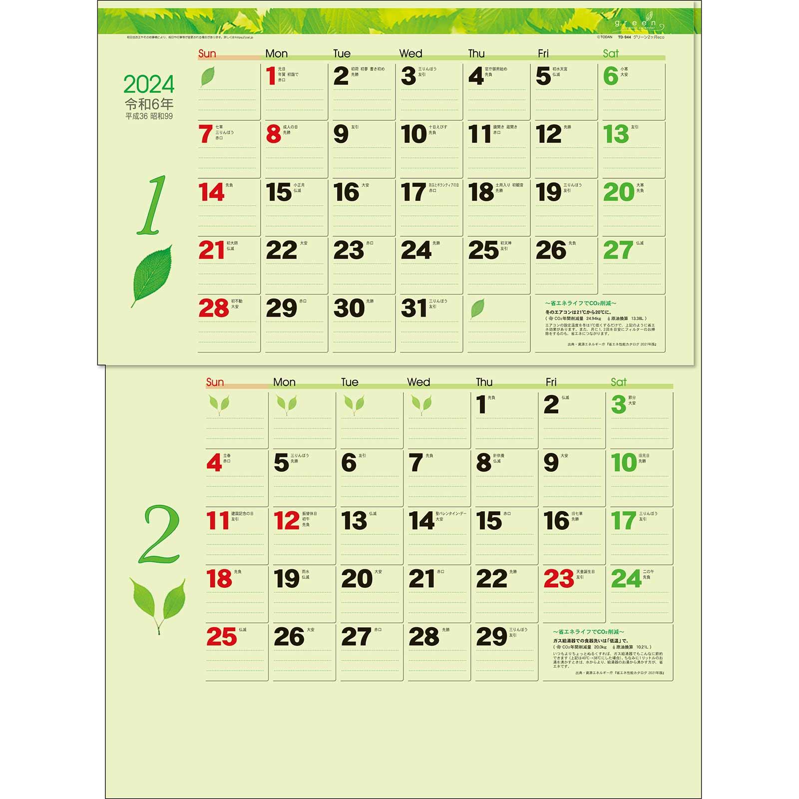 TD-30944 グリーン2ヶ月eco(15ヶ月)(2021年版)