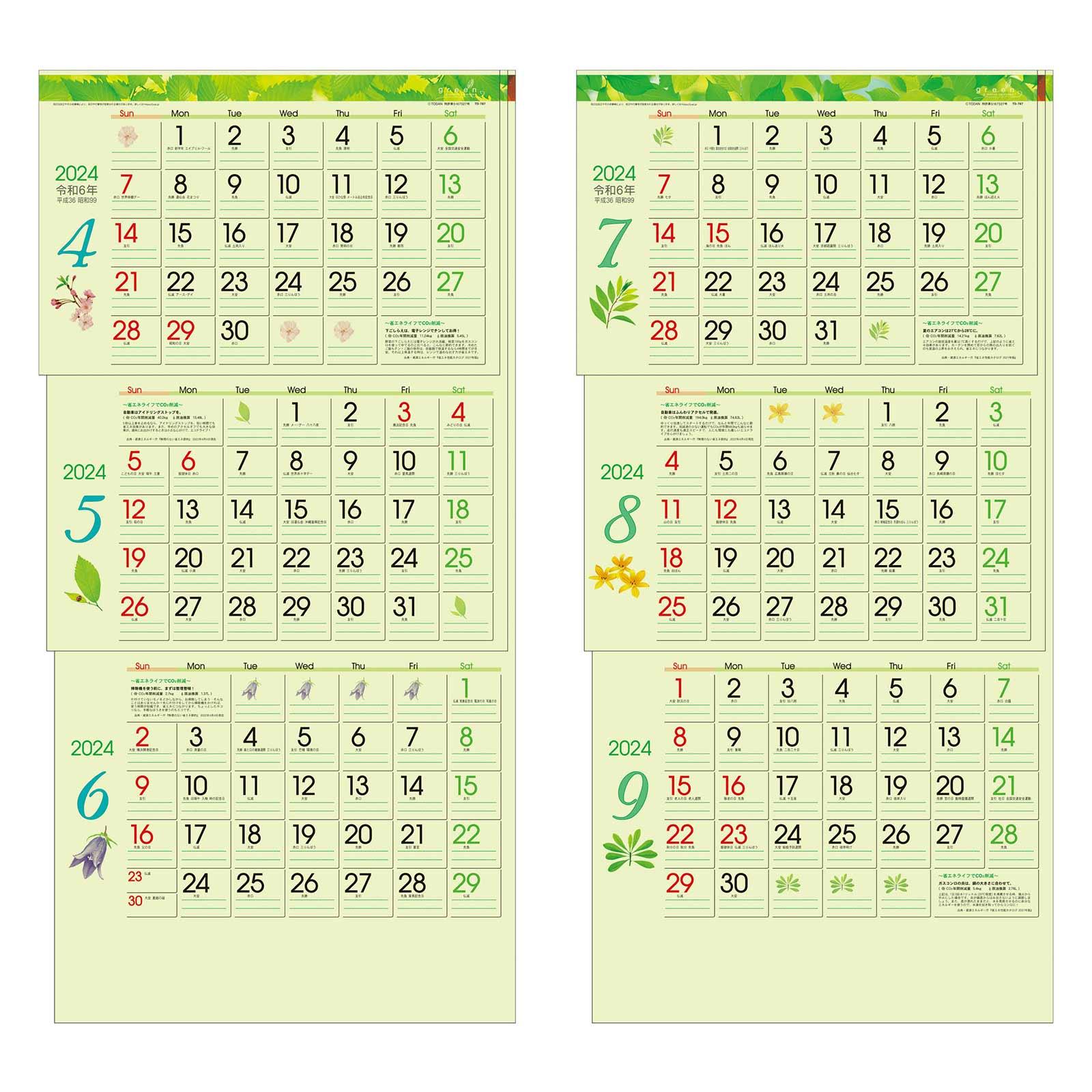 TD-30787 グリーン3ヶ月eco−上から順タイプ−(2021年版)