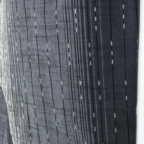 久留米かすり 現代風もんぺ グラデーション 漆黒 絣ライン