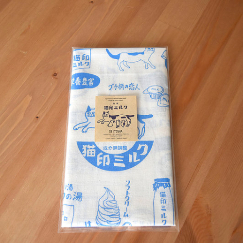【予約商品】猫印ミルク手ぬぐい(青)