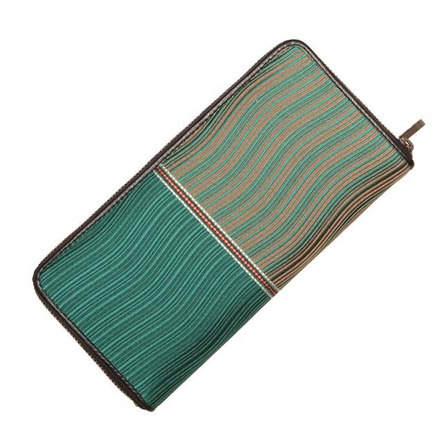 博多織 波筬長財布(ファスナー付) グリーン