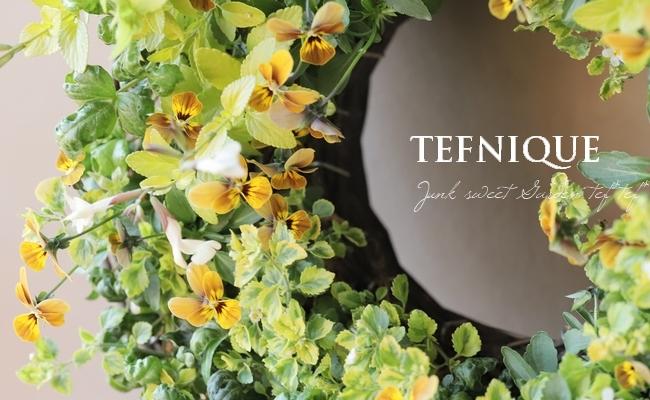 -TEFNIQUE-寄せ植えリース 2019 * no.95 * ラブグリーンのリース♪
