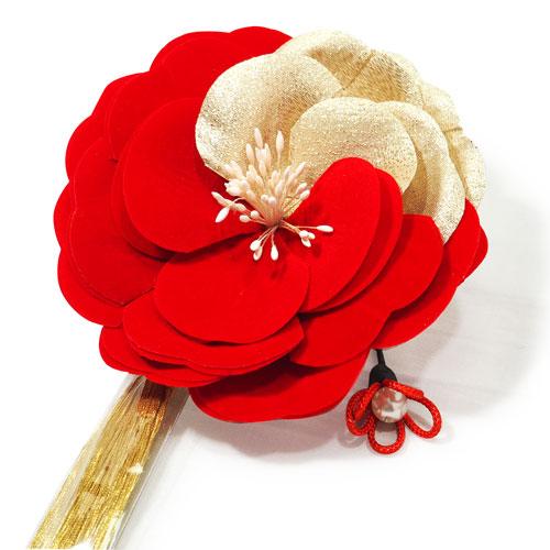 ベルベット風赤金牡丹かんざし