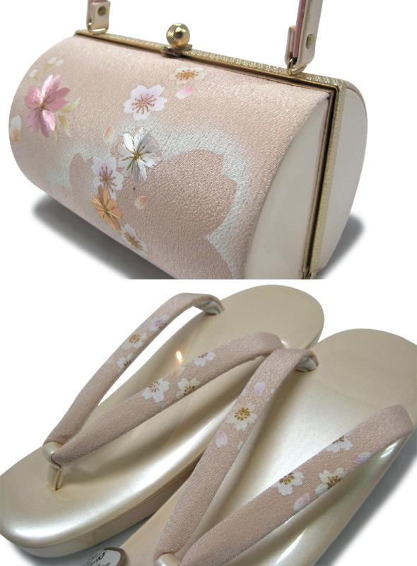 【25%OFF】ちりめんとエナメルの桜柄草履バックセット