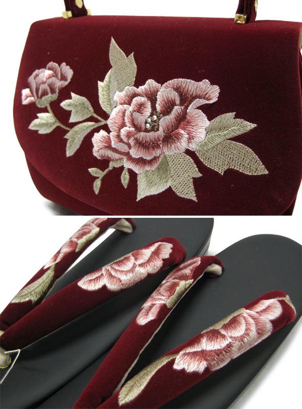 【30%OFF】別珍牡丹刺繍草履バックセット