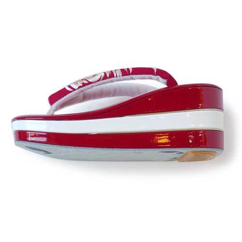 紅白三段エナメルヒール草履