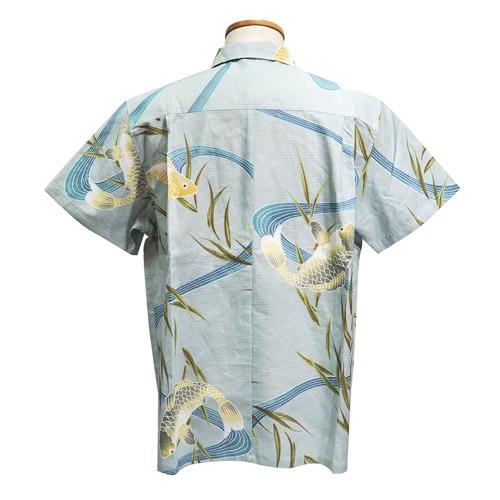 清涼浴衣メンズアロハシャツ_青地鯉柄