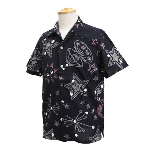 絞り浴衣メンズアロハシャツ_星と太陽