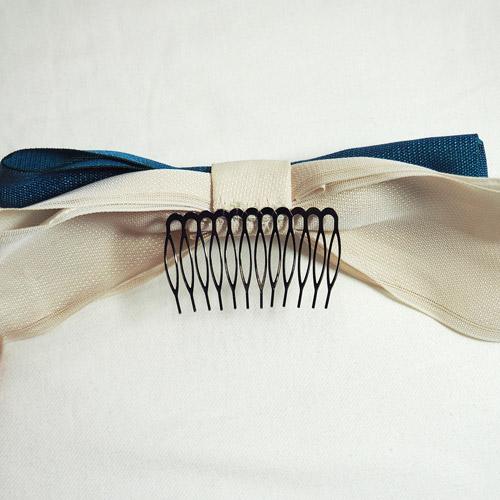 髪飾り_ターコイズブルー×アイボリーリボン