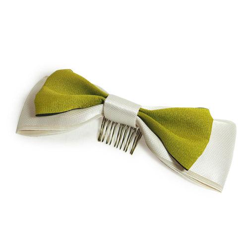 髪飾り_ライムグリーン×アイボリーリボン