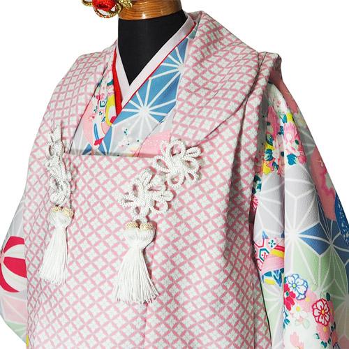 七五三3歳被布セット 麻の葉と花かご手毬 女の子 3歳着物 石田愛商店