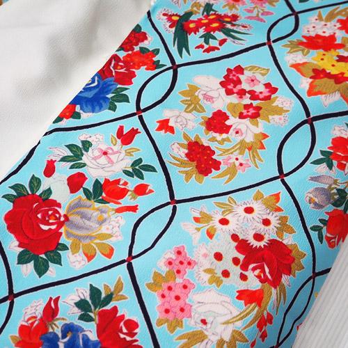 七五三3歳被布セット 網薔薇水色 女の子 3歳着物 式部浪漫 石田愛商店