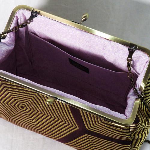 がま口トートバッグ バニラ型押しレザー×濃紫亀甲文様帯 4way 本革 レザー 帯地バッグ がま口ショルダーバッグ がま口バッグ