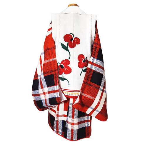 七五三3歳被布セット タータンチェック 女の子 3歳着物 式部浪漫 石田愛商店