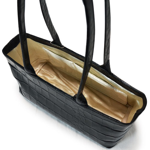 4wayアンティーク帯クロコ型押し本革がま口バッグ