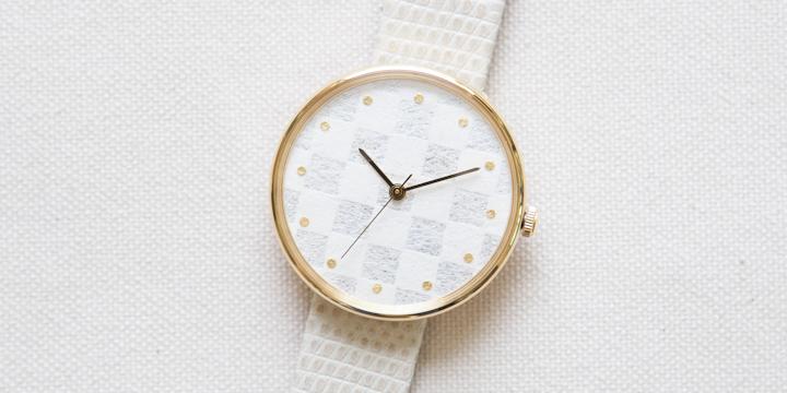 オリジナル時計 市松紋 ユニセックス イエローゴールド