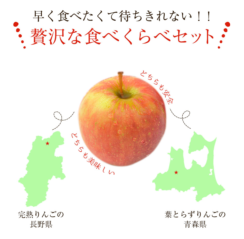 国産りんごの食べ比べセット 4kg 特別栽培農産物 長野県産 青森県産 訳あり B品 規格外品 送料無料