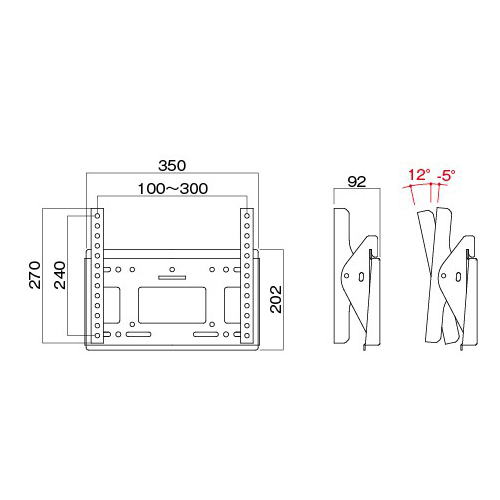 [MH-453B] HAMILeX 薄型テレビ壁掛金具 角度調節タイプ(前後チルト) ブラック (〜43V型くらい)