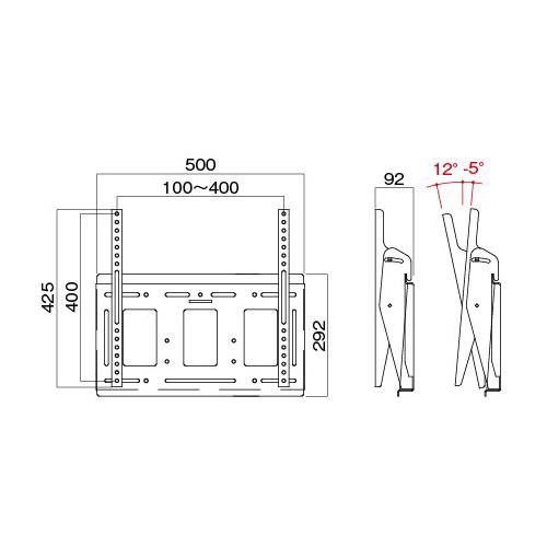 [MH-653W] HAMILeX 薄型テレビ壁掛金具 角度調節タイプ(前後チルト) ホワイト (〜55V型くらい)