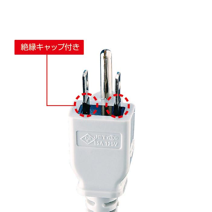 [TAP-K2N-1] 工事物件タップ(3Pノーマル2個口・1m・マグネット付き)