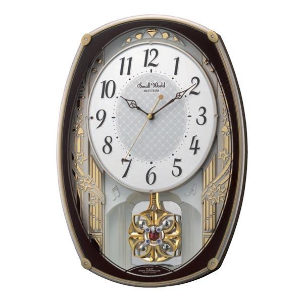 [4MN540RH06] 電波掛時計 スモールワールドレジーナ 茶色(白)