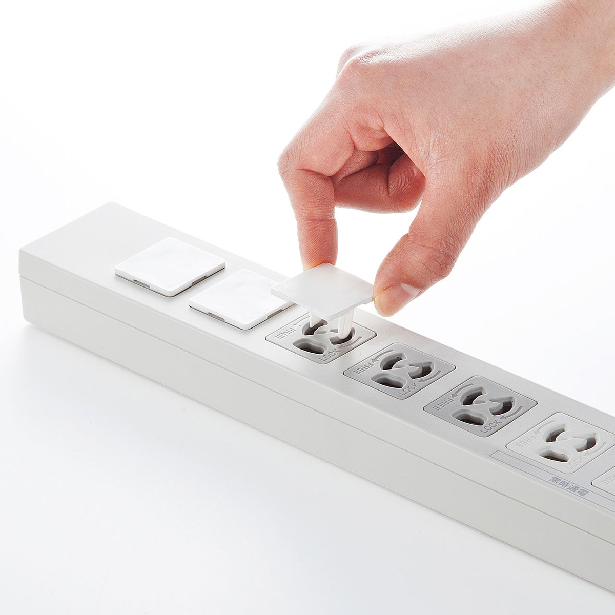 [TAP-CAP3P100L] コンセント安全キャップ 抜け止め用(3P・100個入り)