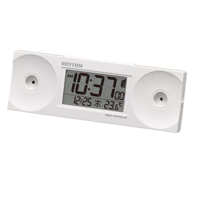 [8RZ192SR03] 電波めざまし時計(大音量) フィットウェーブバトル100 白