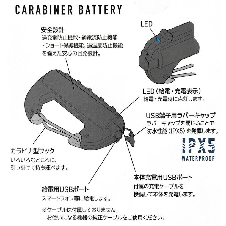 [CRB-005] モバイルバッテリー カラビナ型 フック付き OLIVE オリーブ 3000mAh CARABINER BATTERY SINGLE スマホ 充電 アウトドア 防災