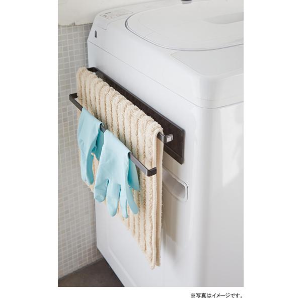 [02957-5R2] tower 洗濯機横マグネットタオルハンガー 2段 ブラック 2957