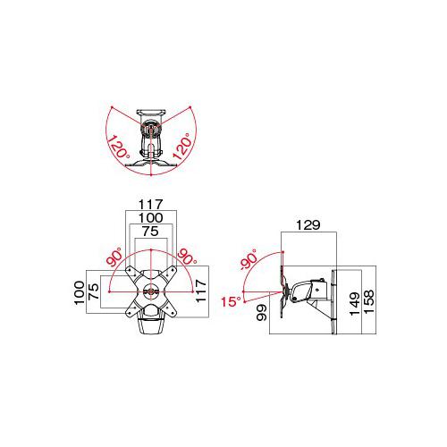 [AR-171W] HAMILeX モニターアーム 壁付けタイプ