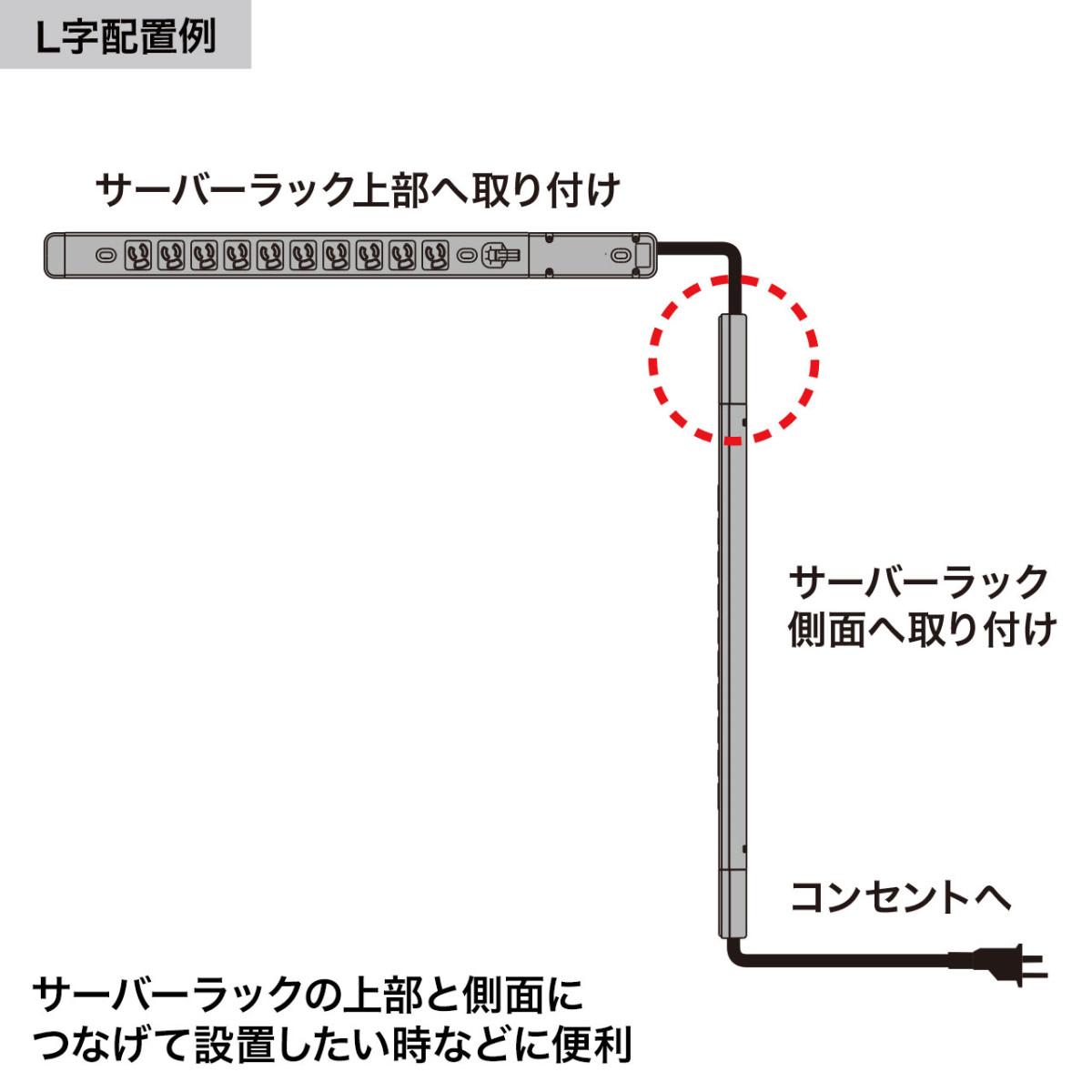 [TAP-ME7051T04] サーバーラック用 コンセントバーのコード付き延長アダプタ 15A
