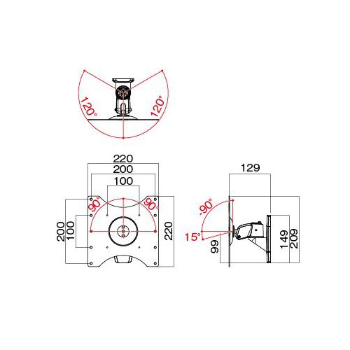 [AR-271W] HAMILeX モニターアーム 壁付けタイプ