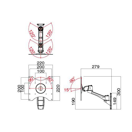 [AR-272W] HAMILeX モニターアーム 壁付けタイプ