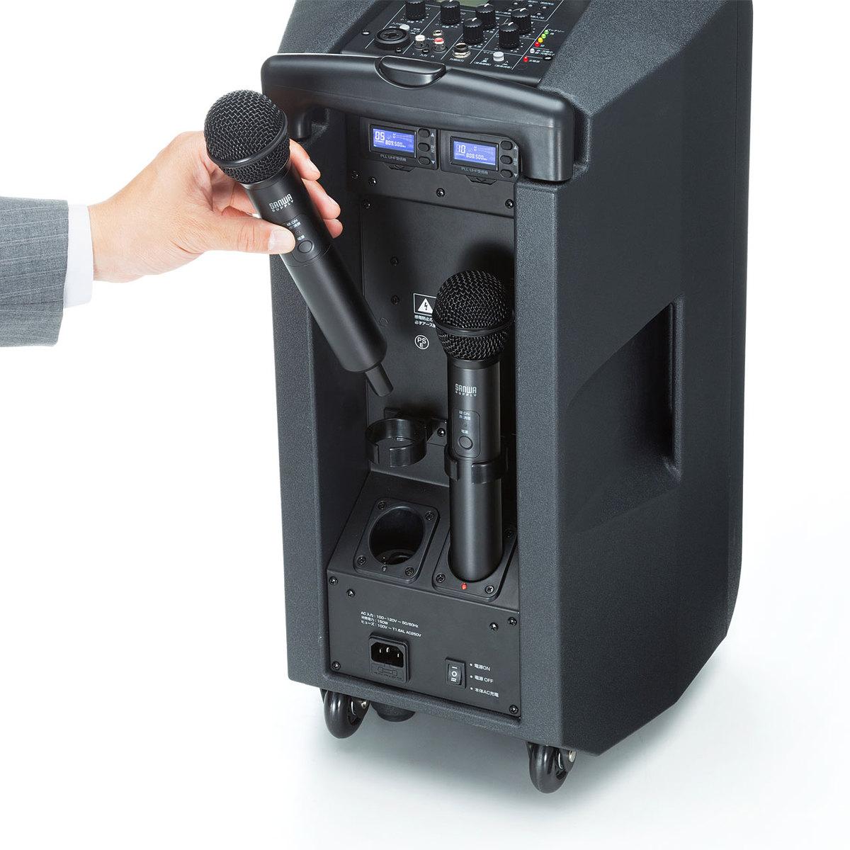 [MM-SPAMP8] ワイヤレスマイク付き拡声器スピーカー(最大200W出力・キャスター付き・マイク2本付属)