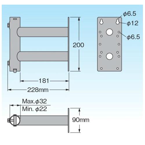 [SB3220] サイドベース UHFアンテナ1台用(適合マスト22〜32mm)