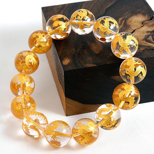 手彫り〈双龍金塗〉水晶(16mm)ブレスレット