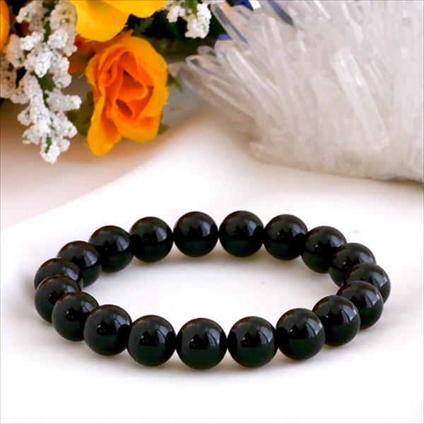 10月の誕生石★最高級3Aブラックトルマリン(黒♪電気石)(10mm) ブレスレット