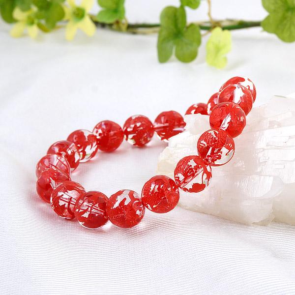 手彫り〈赤龍〉水晶(10mm)ブレスレット