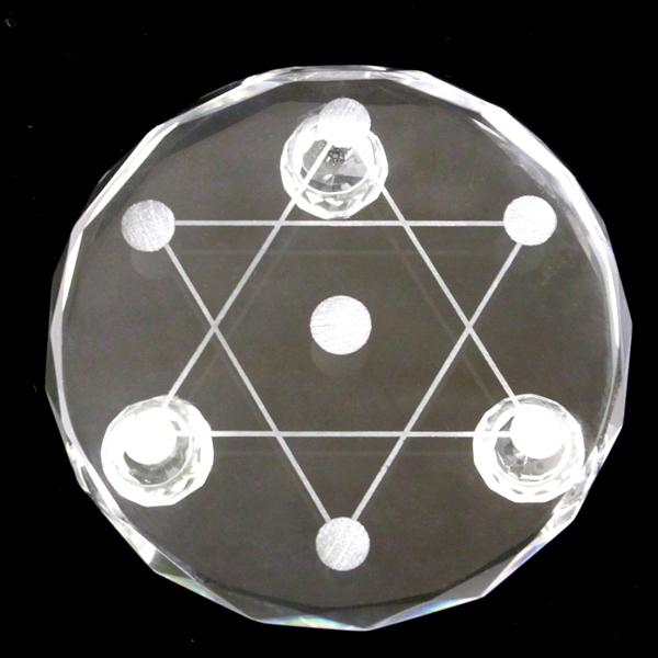 置物六芒星(七星盤)ガラス(足付き)